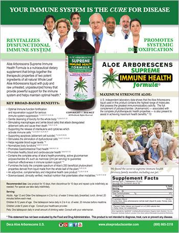 Aloe Arborescens Supreme Immune Health Formula Brochure
