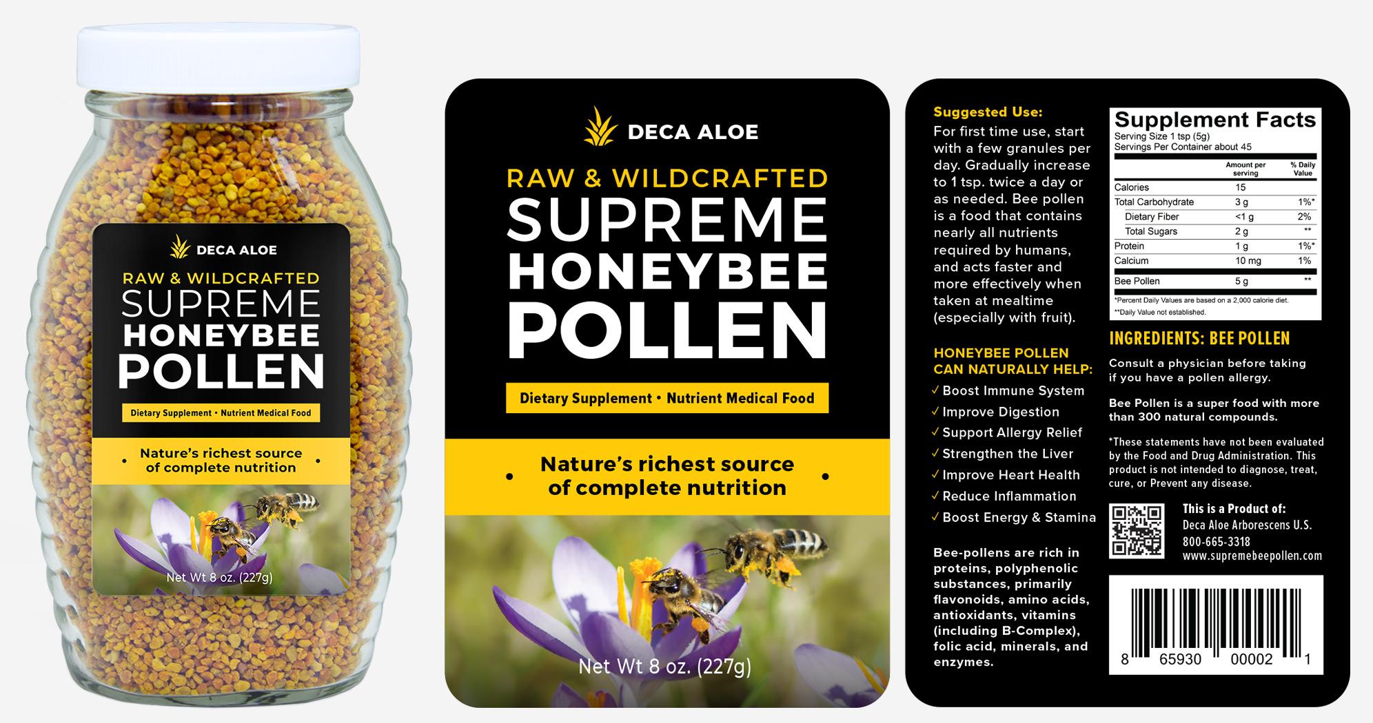 Supreme Honeybee Pollen Product Label