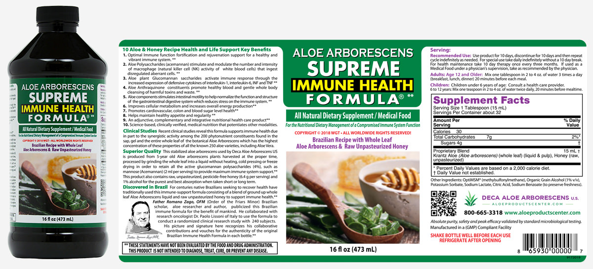 Supreme Immune Health Formula Product Label