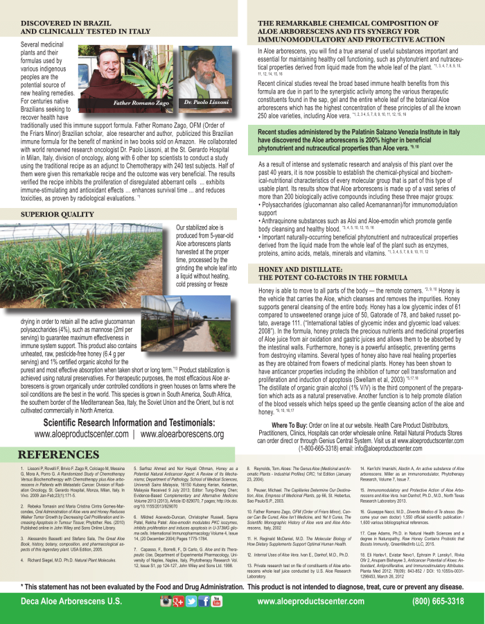 Aloe arborescens immune supplement brochure page 2