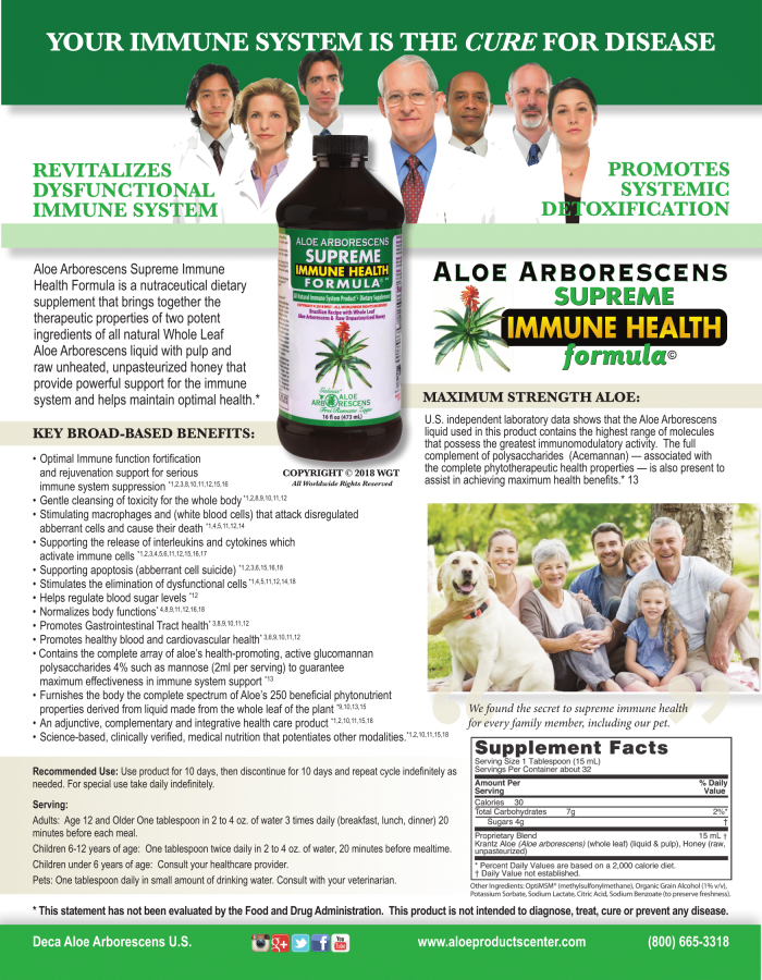 Aloe arborescens immune supplement brochure page 1